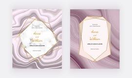 Różana złocista ciekła ślubna zaproszenie karta z marmur ramą i złotymi liniami Okładkowy atramentu obrazu abstrakta wzór Modny b ilustracji