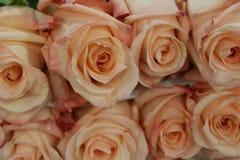 Różane bouguet miękkiej części menchie barwią lying on the beach na stole jako bacground Makro- Obraz Royalty Free