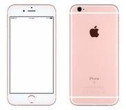 Różanego Złocistego Jabłczanego iPhone 6s mockup frontowy widok z biel parawanową i tylną stroną z Jabłczanym Inc logem obrazy stock