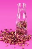 Różani płatki w szklanej wazie nad menchiami Zdjęcia Stock