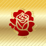 Różany czerwony kwiatu wektor na złocistym tle Obraz Royalty Free