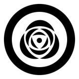 Różany ikony czerni kolor w okręgu Zdjęcie Stock