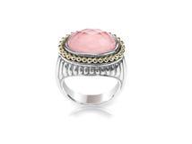 Różany kwarc srebra złota menchii pierścionek Obraz Stock