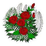 Różany mandala ikony symbolu logo, kwitnie kwiecistego liść, wektorowy ręka rysunek Zdjęcia Royalty Free