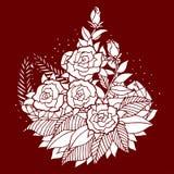 Różany mandala ikony symbolu logo, kwitnie kwiecistego liść, wektorowy ręka rysunek Obraz Stock