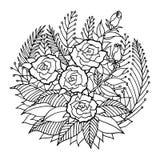 Różany mandala ikony symbolu logo, kwitnie kwiecistego liść, wektorowy ręka rysunek Zdjęcie Stock