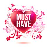Różany serce z graficzną opowieścią o miłości Obrazy Stock