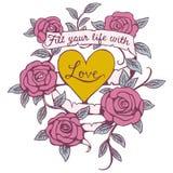 Różany sztandar miłości projekt royalty ilustracja