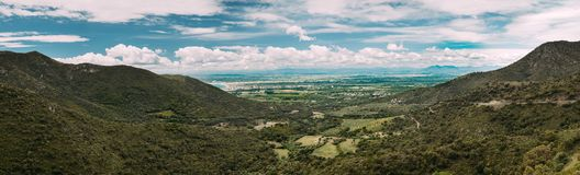 Róże, Catalonia, Hiszpania Wiosna panoramiczny krajobraz fotografia stock