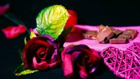 Róże i świeczki palenie dla słodkiej moment walentynki footage zdjęcie wideo