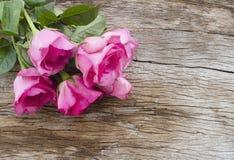 Róże na starej drewnianej desce, walentynka dnia tło, ślubny da Zdjęcia Stock