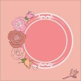 Róże obramiają z round polem dla teksta Zdjęcia Stock