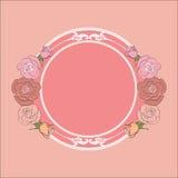 Róże obramiają z round polem dla teksta Zdjęcia Royalty Free