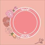 Róże obramiają z round polem dla teksta Fotografia Royalty Free