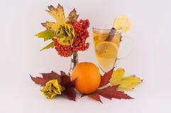 Róże od jesieni herbaty i liści Obraz Royalty Free