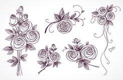 róże ustawiają Kolekcja róża bukiety Stylizowany kwiat ręki rysunek ilustracji