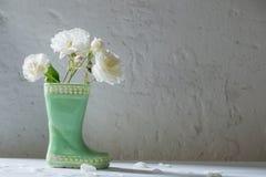 Róże w ceramicznym bucie na białym tle Zdjęcie Stock