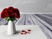 Róże w wazie na dywanie ilustracji