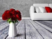 Róże w wazie w pokoju ilustracji