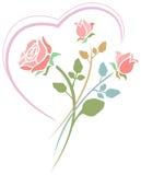 Róże z sercem royalty ilustracja