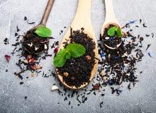 Różna herbata w drewnianych łyżkach jakby zdjęcie royalty free