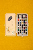 Różna kolor nić w bobinach i Innych Szwalnej maszyny częściach zdjęcia royalty free