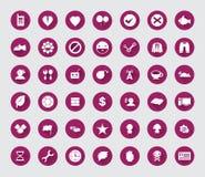 Różna płaska ikona ustawiająca z długim cieniem dla sieci i wiszącej ozdoby Obrazy Royalty Free