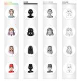 Różna rasa Mongol, europejczyk, kniaź, turczynka, arab Ras ludzkich ustalone inkasowe ikony w kreskówce czernią Fotografia Royalty Free