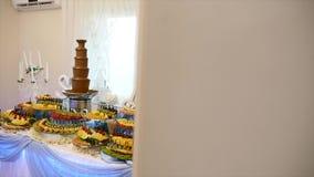 Różne świeże owoc na ślubnym bufeta stole Owoc i jagody Poślubia stołową dekorację Bufeta przyjęcia owoc zbiory wideo
