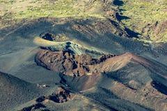 Różne Colour góry i lawowi pola wokoło wulkanu Teide kratery 1798 rok erupcja, zmierzchu czas D?ugi obiektywu strza? Teide obrazy stock