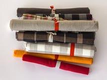 Różne colours rolki bieliźniany płótno Zdjęcia Stock