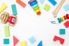 Różne dziecka ` s drewniane zabawki na białym tle Mockup Zdjęcia Stock