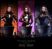 Różne fotografie młoda i piękna czarownica robi guślarstwu obraz royalty free