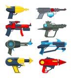 Różne futurystyczne bronie Strzelać pistolety dla wideo gier ilustracja wektor