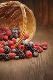 Różne jagody w koszu na drewnianym stole Obraz Royalty Free