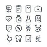 Różne pionowo opiek zdrowotnych ikony ustawiać z round Fotografia Royalty Free
