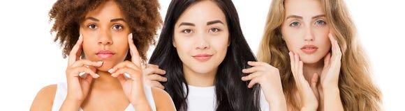 Różne pochodzenie etniczne kobiety azjata, afrykanin, caucasian piękno skóry twarzy opieka W górę portreta, dziewczyna kolaż odiz fotografia stock
