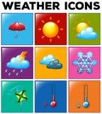Różne pogodowe ikony na koloru tle royalty ilustracja