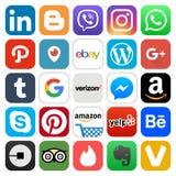 Różne popularne ogólnospołeczne medialne i inne ikony Zdjęcia Royalty Free