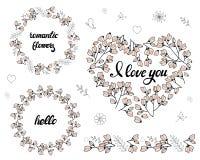 Różne ramy z czereśniowymi pączkami i kwiatami ilustracja wektor