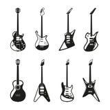 Różne rockowe gitary elektryczne ustawiać Wektorowi monochromów obrazki royalty ilustracja