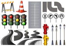 Różne rzeczy i zbawczy wyposażenie dla ruchu drogowego ilustracja wektor