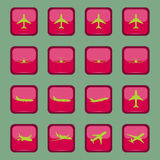 Różne samolotowe ikony na czerwonym guziku Zdjęcie Stock