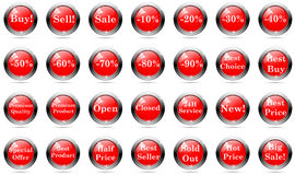 Sprzedaż guziki ustawiający Zdjęcie Royalty Free