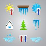 Różne temperaturowe kolor ikony ilustracji
