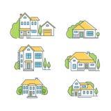 różnego nieruchomości domu ikony logotypów istnego realty ustalony temat Zdjęcia Stock