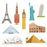 Różni światowi sławni symbole ustawiający odizolowywają na bielu Dziejowi budynki, punkty zwrotni ściągania ilustracj wizerunek p ilustracji