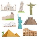 Różni dziejowi sławni punkty zwrotni Światowi miejsca ściągania ilustracj wizerunek przygotowywający wektor ilustracji