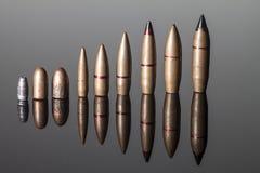 Różni kaliberów pociski Wyrównujący Zdjęcia Stock