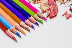 Różni kolorów ołówki z białym tłem fotografia stock